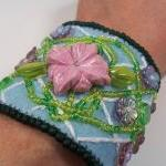 Lattice Flower Embroidery Cuff Brac..