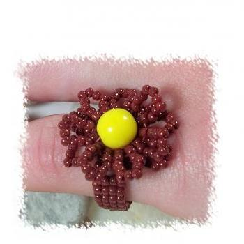 Autumn Blossom Ring, Beading Tutoiral in PDF